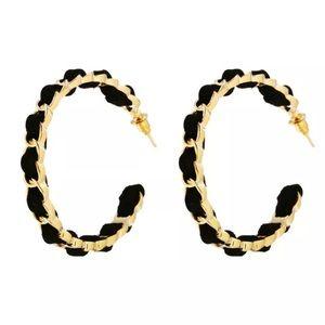 Open Hoop Earrings - Gold Toned & Faux Suede